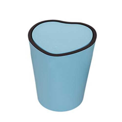 Abfalleimer Kreative Heart Shaped v Mülleimer, Home Küche Wohnzimmer Badezimmer Büro mit Deckel Speichereimer Abfall & Recycling (Color : Blue) (Shaped Kuchen-deckel Heart)