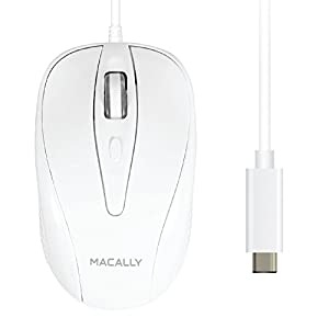 Macally UCTURBO 3 Button USB-C Wired Mouse for MacBook, MacBook Pro