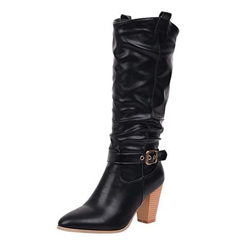 Damen Winterstiefel Damen Leder Cross Strap Kniehohe Schnalle Schuh Cowboy LowHeel Slipon Boots Retro Stylisch Basic Ausgehen Warm Boots Schwarz 42 -