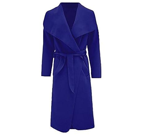 Hina Fashion Frauen-Damen Italienisch Wasserfall Belted Langarm-Mantel-Jacken-Top (One Size Fits 8-16, Marine)