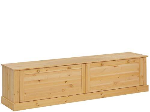 Loft 24 A/S TV-Bank HiFi Board Lowboard Fernsehtisch Fernsehschrank Kiefer Massivholz Landhaus (gebeizt geölt, 2 Türen, 180 x 40 x 45 cm)