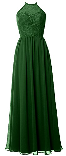 MACloth Women Halter Long Bridesmaid Dress 2017 Lace Wedding Party Formal Gown Dunkelgrun