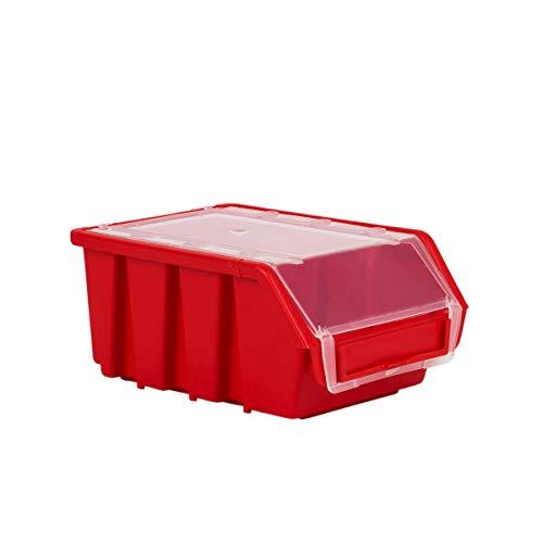 10 Stck Stapelboxen mit Deckel Rot Gr.M