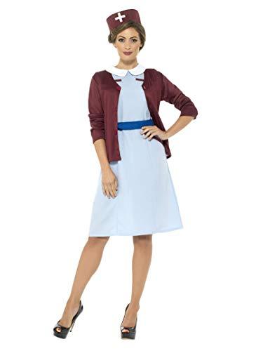 Smiffys Damen Vintage Krankenschwester Kostüm, Kleid, Cardigan, Gürtel und Hut, Größe: 40-42, 42796
