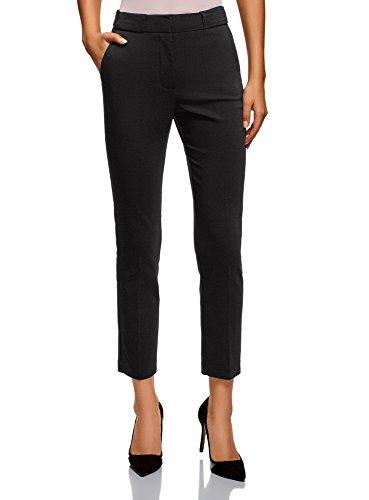 oodji Collection Mujer Pantalones Ajustados con Pinzas, Negro, ES 40 / M