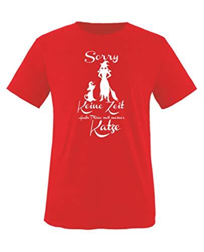 Comedy Shirts - Sorry, Keine Zeit - Habe Plaene mit meiner Katze - Mädchen T-Shirt - Rot/Weiss Gr. 110-116