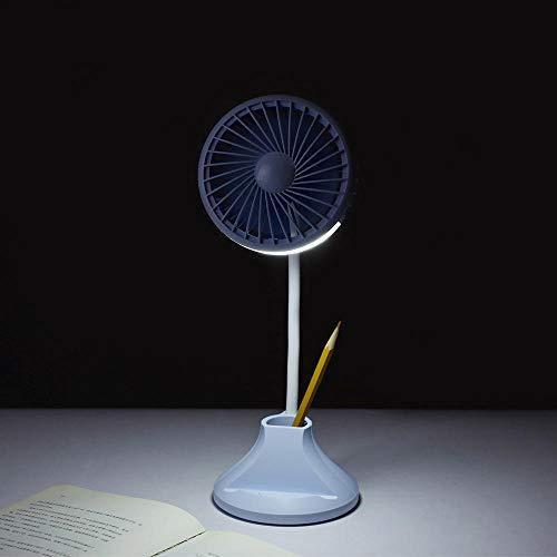 LED-Nachtlicht, Mini-Tischlampenventilator, klappbarer Mini-Studententischlampenventilator mit mehreren Funktionen, großer Windschutz, Sommerkühlungsgeschenk, blau