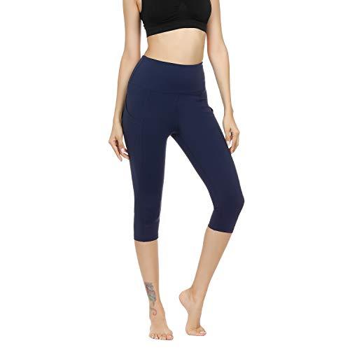 Damen Leggings Yogahosen Sporthose Tights Laufhose High Waist mit Taschen Dehnbar Jogginghose Yoga Sport Fitness Laufen(Marine-qf.S)