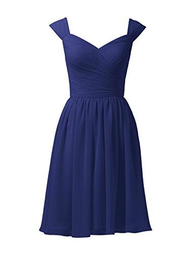 Alicepub Damen Chiffon Brautjungfernkleider Abendkleider Kurz A-Linie Festkleider, Königsblau, 48