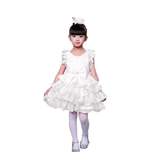 Jazz Dance Kostüm White - HUO FEI NIAO Tanzkleidung for Kinder Ballettröckchen Gaze Ballett Jazz Dance Party Kleid Cheerleading (Color : White, Size : 130)