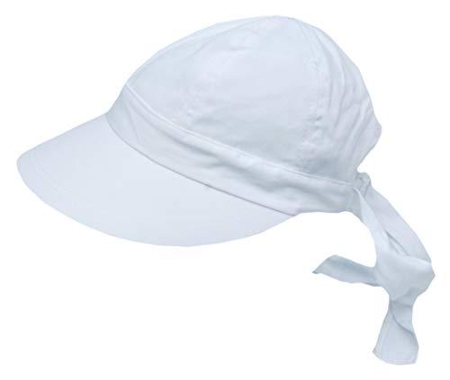 Cool4 Damen Bandana Cap Visor Sonnenhut Strand Schirm Baumwolle Cap Chemo A13 (Weiß)