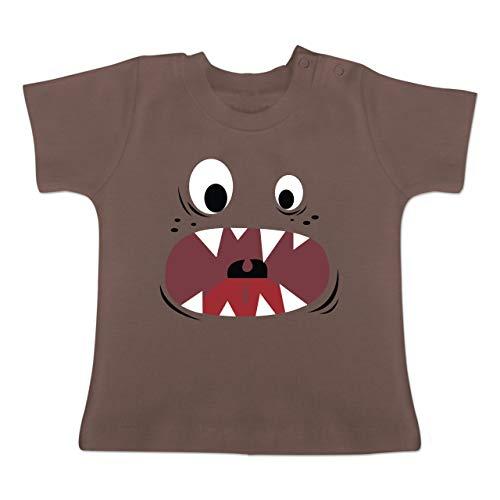 Karneval und Fasching Baby - Monster Kostüm Gesicht - 18-24 Monate - Braun - BZ02 - Baby T-Shirt Kurzarm