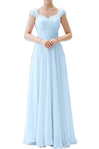 Milano Bride Damen Huebsch Lang Chiffon Abendkleider Brautjungfernkleider Festkleider Partykleider mit Traeger Hell Blau