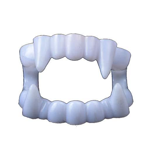 Uus Accesorios de prótesis dentales de Halloween, dentadura de Vampiro de Colmillos de Diablo dentadura de plástico Luminosa Blanca (Tamaño : 4 * 1.5cm)