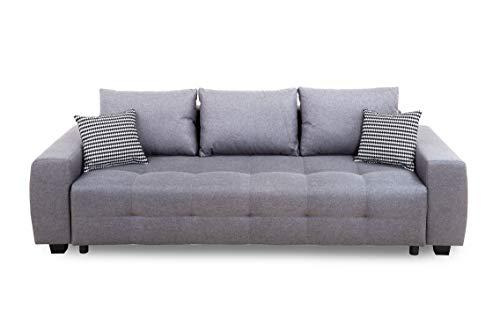 Collection AB Bellezza Schlafsofa, Stoff, Hellgrau, 94 x 241 x 90 cm
