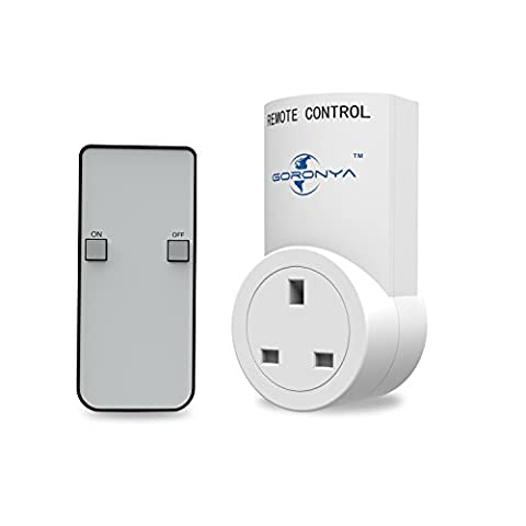 Goronya Wireless Outlet Switch with Remote,Electrical Plug Outlet Control for Household Appliance Lamp Light Etc (1 Plug / 1 Remote)