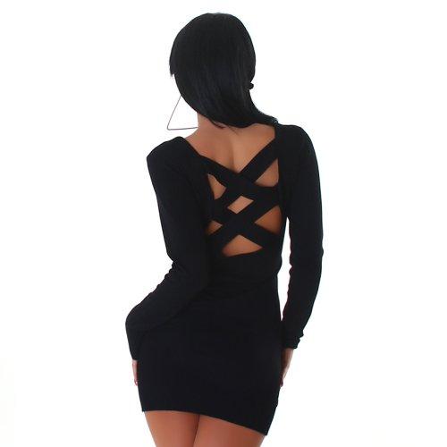 Jela London Damen Strickkleid Kleid Nieten-Stern Onesize trendiges Design Schwarz