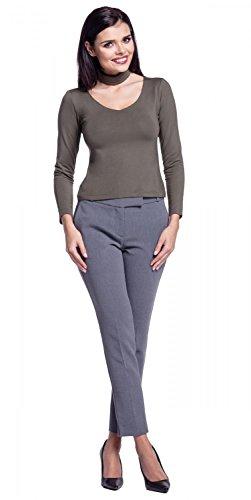 Zeta Ville - Damen Top Empire-Taille langen Ärmeln Kropfband V-Ausschnitt - 339z Khaki