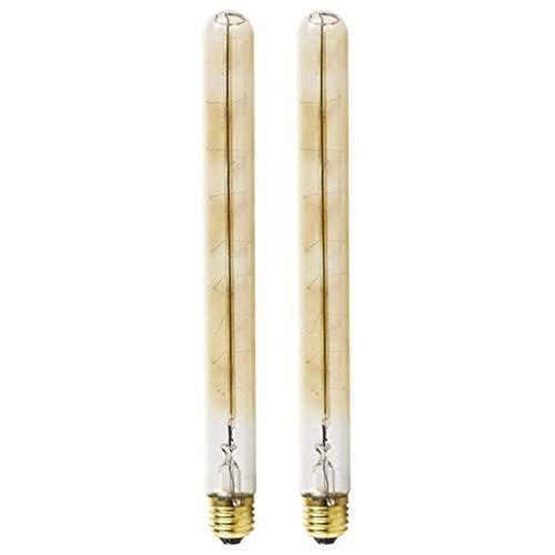 (Vintage Edison Glühbirnen Retro Altmodische Stil Flötenrohr Industry Style Schraube Birne Dimmbar Dekorativ tube Leuchtmittel Antike Filament Lampe E27 Fassung 40W T300 Warmweiß Licht - 2 Stück)