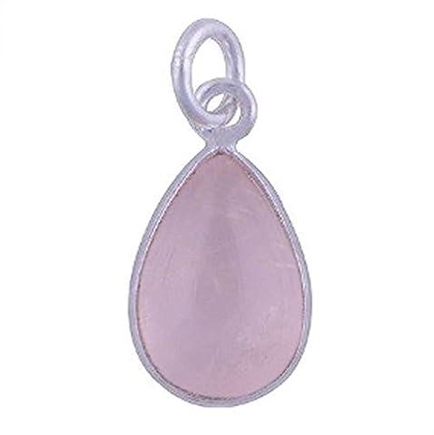 Pendentif quartz rose en argent massif 925 - Taille de