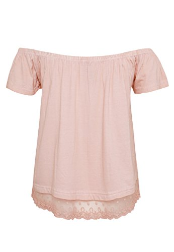 Rock Angel Shoulder Shirt Linda | Leichtes Schulterfreies T-Shirt mit Spitzeneinsatz light-rose
