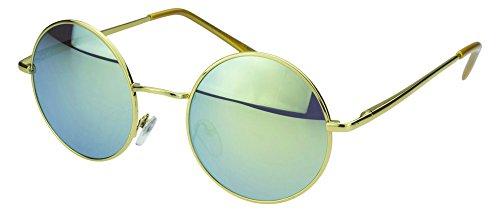 Herren Kostüm Hippie Sonnigen - Sense42 | Retro Sonnenbrille | runde Gläser für Damen und Herren | verspiegelte Sonnenbrille | mit Federscharnier-Bügel | schwarz, blau, gold, grün, orange, silber