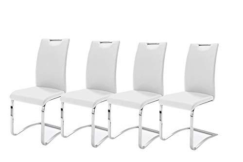 Robas Lund, Stuhl, Esszimmerstuhl, Schwingstuhl, Koeln, 4er Set, Chrom/Kunstleder/weiß, 43 x 100 x 57 cm, KOEAMWX4