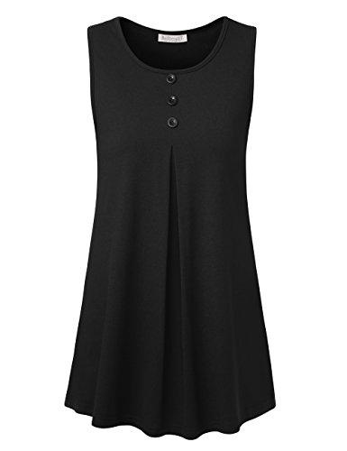 BaiShengGT Women's Sleeveless Tunic for Leggings Swing Flare Button Tank Tops