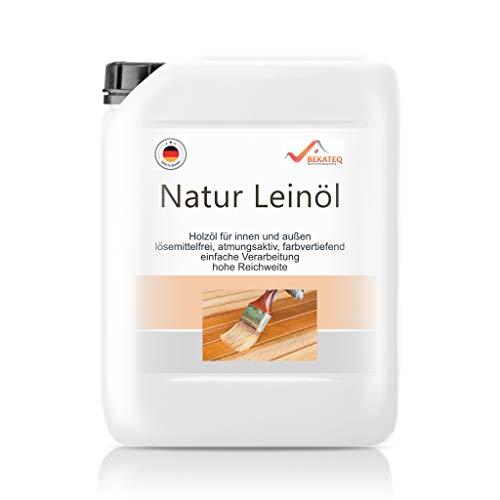 BEKATEQ BE-200 Natur Leinöl, 5l farblos, Holzöl, Holzschutz, Holzpflegeöl für innen und außen