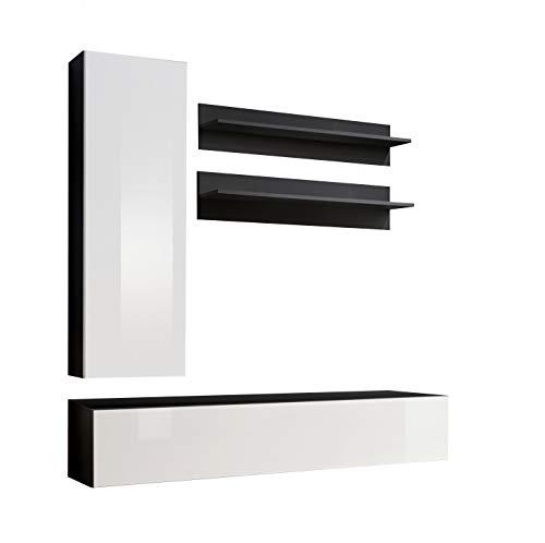 Muebles bonitos mobile soggiorno - parete da soggiorno moderno sospeso modello nora h1 nero bianco - larghezza totale: 160cm x altezza minima: 190cm x profondità maxima: 40 cm