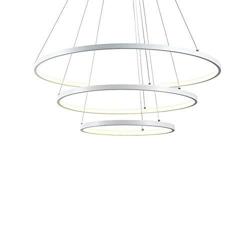 LED Pendelleuchte Modern 3 Ringe Entwurf Runden Hängelampe Kronleuchter zum Wohnzimmer Esszimmer Schlafzimmer Studierzimmer Decke Beleuchtung Leuchte Hängeleuchte Aluminium und Acryl , Warmes Licht -
