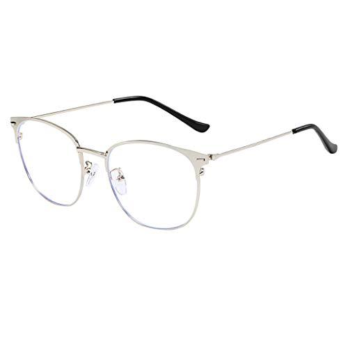 Satiny Unisex Klassisch Metall Runden Felge Komfortabel Brille Optische Brillen Nicht verschreibungspflichtige Brillengestell Eyewear Kleine Ovale Runde Damenbrillen (Silber)