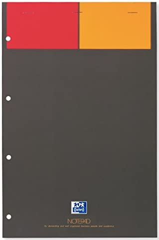 Oxford International notepad bloc A4+ agrafe perfore 160 pages petits carreaux 5x5