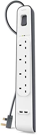 Belkin BSV401ar2M 4-Outlet Surge Protection Extension Lead Strip with 2 x 2.4 Amp USB Charging Port, 2 m Cable