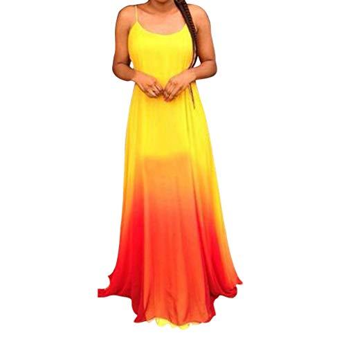 eider Damen Sommer Lang Elegant Slingkleid Backless Mode Abendkleid Strand Sommerkleider Wischlänge Rock(X-Large,Rot) ()