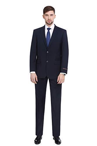 P&L Herren Anzug Classic Fit Blazer Jacke Tux Weste & Flache Hose (2 und 3 Stück) - blau - 60 Regulär - Kerbe Revers Single