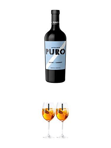 Dieter Meier Puro MALBEC CABERNET Rotwein Argentinien 1,50 Liter Magnum + Scavi & Ray Wein Glas 2 Stück