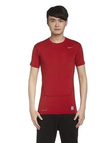 Nike Pro Combat Core 2.0 Maillot de compression à manches courtes Homme Gym Red/Cool Grey FR : L (Taille Fabricant :