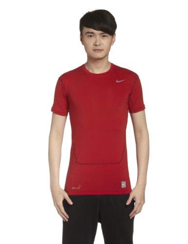 Nike Herren Unterwäsche Kurzarm Pro Core 2.0 Compression, Gym Red/Cool Grey, L, 449792-653 (Nike Combat Pro T-shirt)