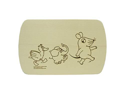 Salewsky Qualitätsholzwaren Frühstücksbrett mit Kostenloser Gravur 24x15cm Maus Elefant Ente TV Serie Sendung mit der Maus Ahorn -