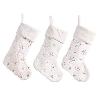 Handfly Copos de Nieve Bordados Felpa Blanca Medias navideñas Calcetines de Caramelo Regalos Bolsa con bucles Colgantes Árbol de Navidad Chimenea Decoraciones de Temporada