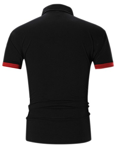 YCHENG Herren Poloshirt Kurzarm Stehkragen Slim Fit Polohemd Polo T-Shirt Schwarz