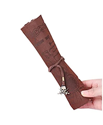 Hosaire 1X Pirate Treasure Map Retro Imitation Leather Roll Pencil Case Cosmetic Bag Stationery