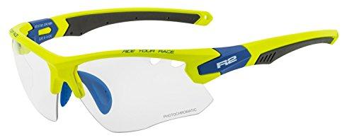 R&R Multi-Sportbrille Crown | Sonnenbrille | Radbrille | Skibrille mit Wechselgläser oder selbsttönend (Neongelb/blau, Selbsttönend)