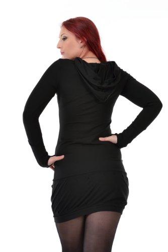 zauberhaftes langarm Kapuzenkleid mit Ballonrock und farblich abgesetzten Details der Marke 3Elfen fair produziert Schwarz