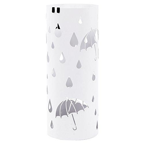 Songmics metall Schirmständer mit Wasserauffangschale Haken rund Ø 19.5 x 49 cm weiß Regenschirmständer Regenschirm LUC23W