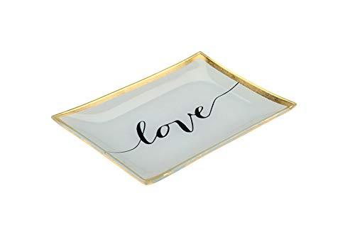 My Weddingshop Deko-Teller/Ring-Teller Love/Ring-Kissen Alternative/Love aus Porzellan in weiß & Gold - Raum-Deko/Hochzeits-Deko/Zubehör Hochzeit/Liebe / Ehe-Ringe