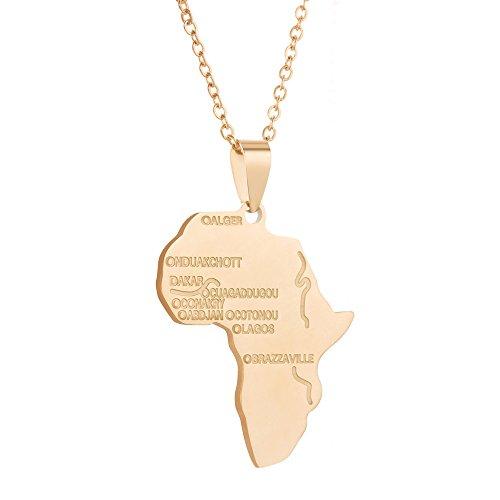Joeyan Hiphop Afrikanische Karte Anhänger Halskette, Rostfreier Stahl Gold Halskette für Herren Damen (Gold Afrika-karte Anhänger)