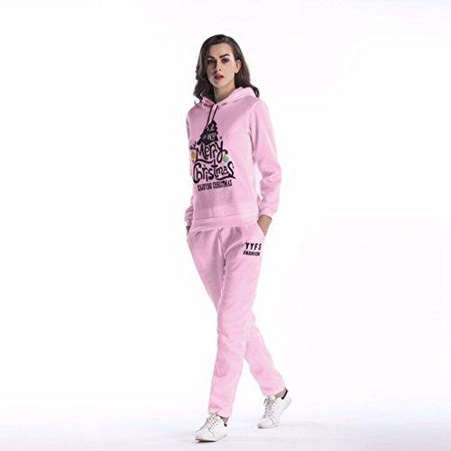 NiSeng 1Pcs Pull À Capuche ,Arbre De Noël Impression Survêtement Sweatshirt Capuche Suit Sweat À Capuche + Pantalons 2Pcs Suit Rose (Ensemble)