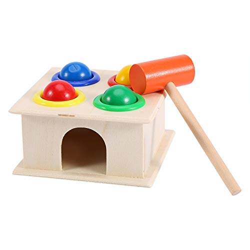 Popsugar Toy Hammer and 4-Ball Wooden Play Set | Shape Sorter, Learn Colors, Counting, Shapes, Multicolor
